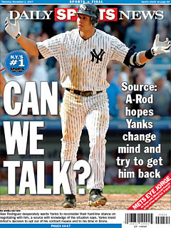 New York Daily News Sports section Alex Rodriquez and the Yankees