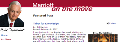 Bill Marriott from Marriott on the move - PRBlogNews, Blogs We Love #1
