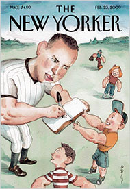 Alex Rodriguez, New York Yankee 3rd baseman, on cover of New Yorker, Feb. 23, 2009